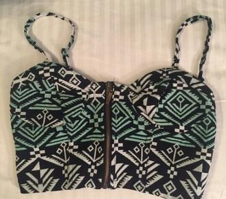 top aztec crop top zip-up