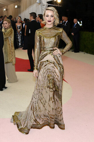 dress gown gold rachel mc adams long prom dress met gala metgala2016 see through dress