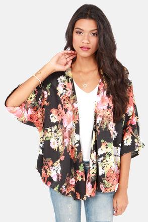 Cute Floral Print Top - Kimono Top - Black Top - $45.00
