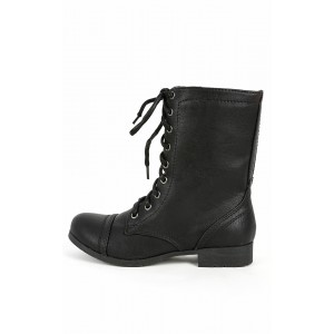 Soda Relax-s Black Lace Up Combat Boots | MakeMeChic.com