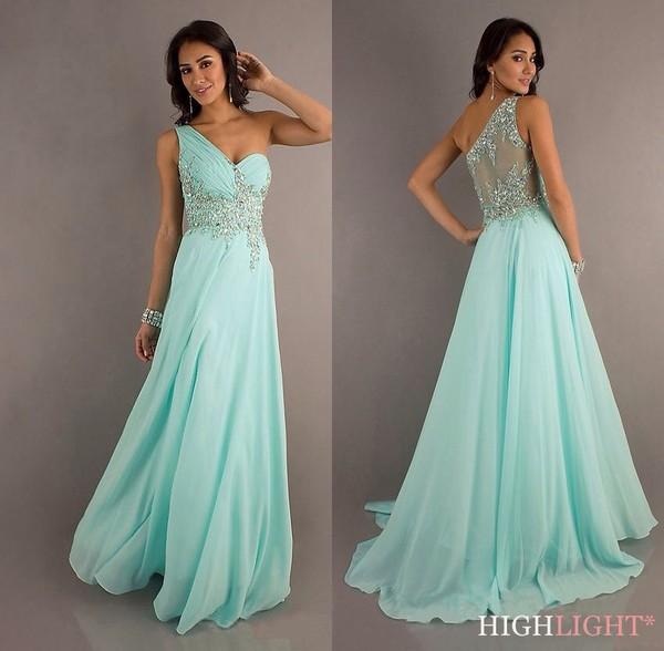 dress light blue turquoise homecoming long dress sequins one shoulder dress aqua baby blue