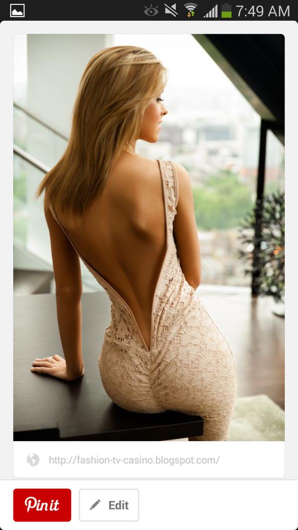 dress deep v back lace dress beige dress long open back dress open back low back