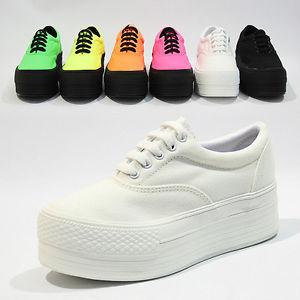 Womens Bright Canvas Platform Low Sneakers Trainers Ladies Low footwear Shoe | eBay