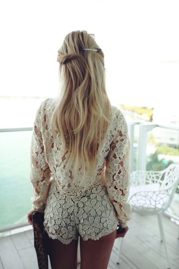 romantic blonde hair long hair crochet romper cream romper white romper long sleeve romper