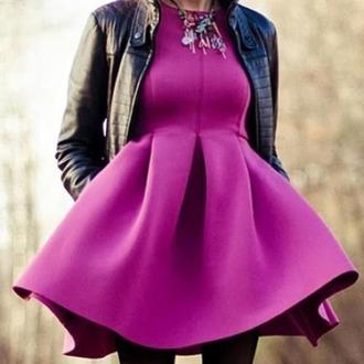 dress purple fluffy cloth cute big short
