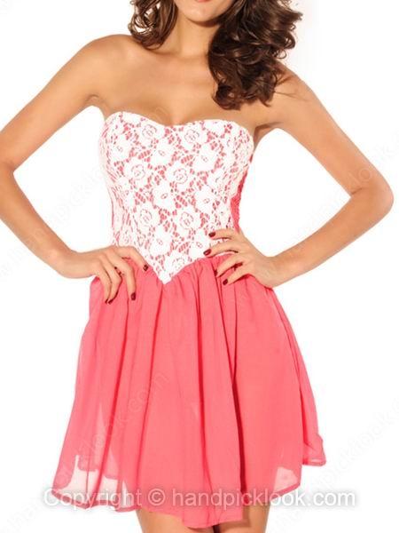 Pink Strapless Sleeveless Chiffon Lace Dress - HandpickLook.com