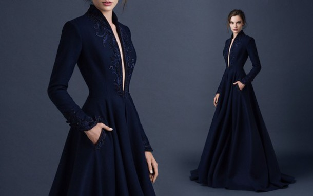 dress blue dress formal long sleeve dress