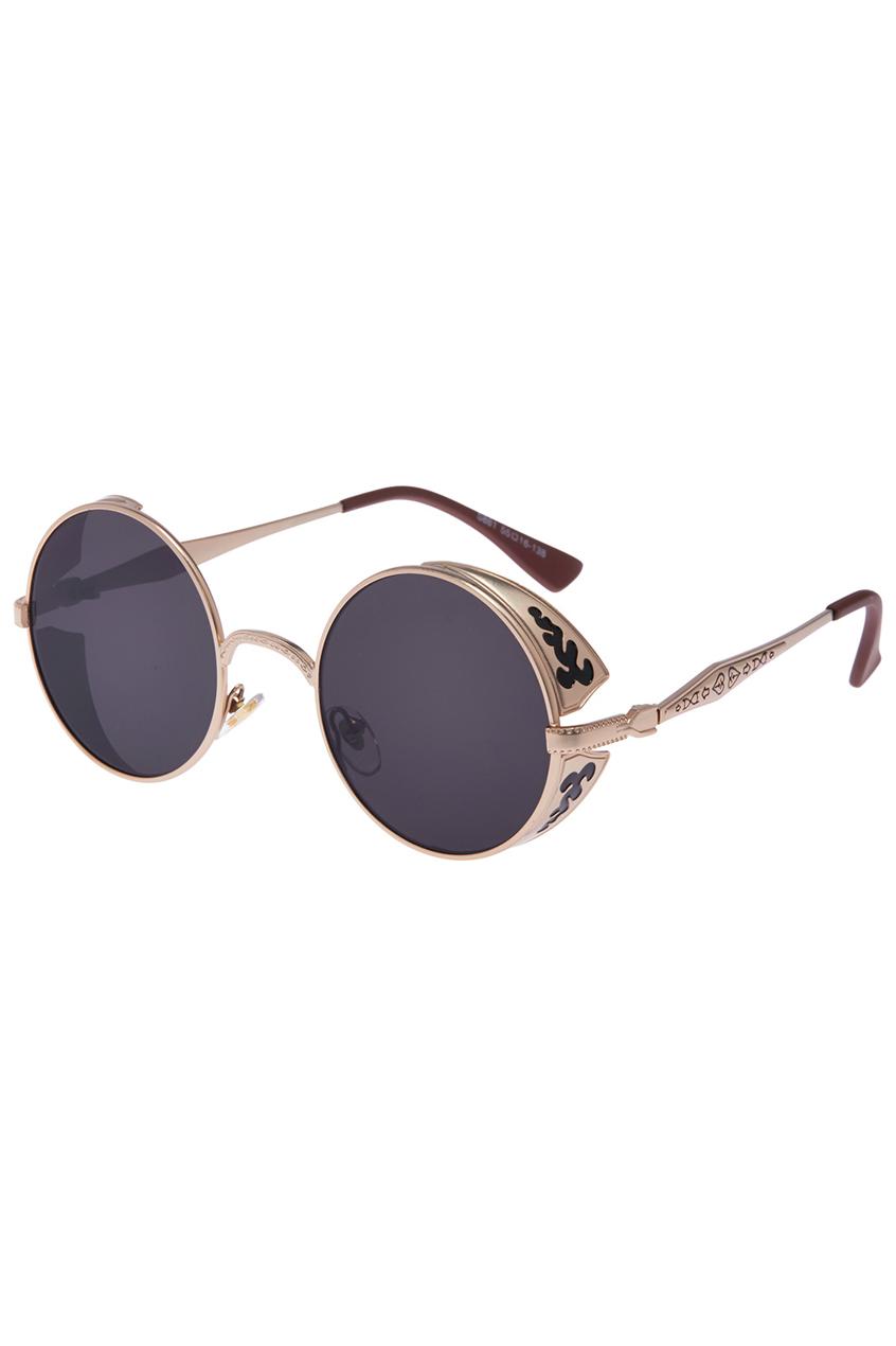 ROMWE | ROMWE Rococo Sleek Gold Round Sunglasses, The Latest Street Fashion