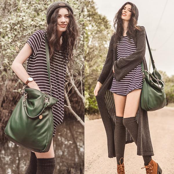 elle may dress bag jewels socks shoes striped dress knee high socks cardigan beanie boots