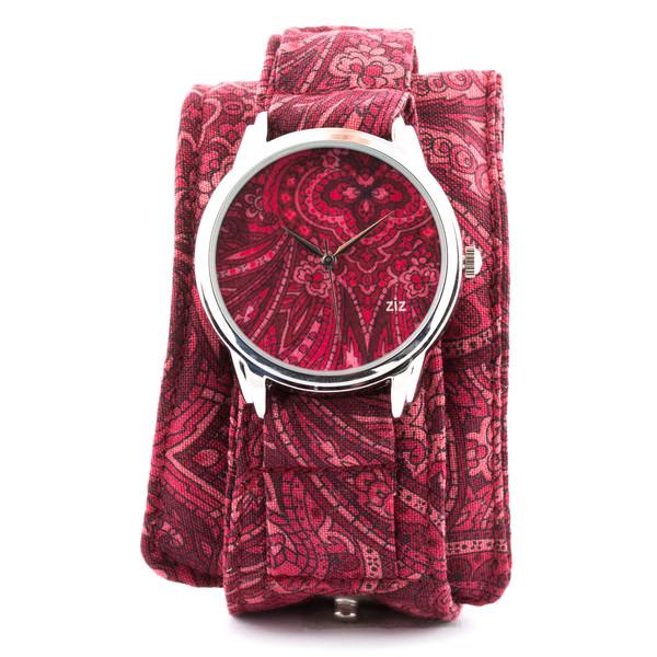 jewels fuchsia watch watch soft watch cotton strap unusual watch unique watch beautiful watch designer watch ziz watch ziziztime
