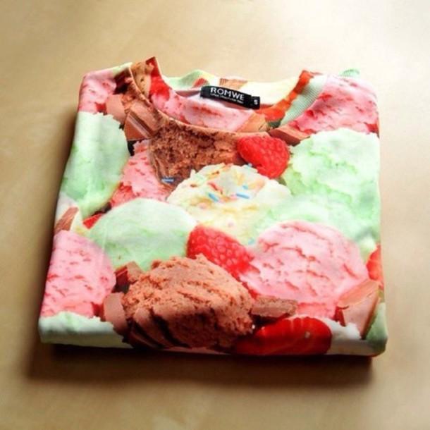 sweater style fashion food ice cream printed sweater