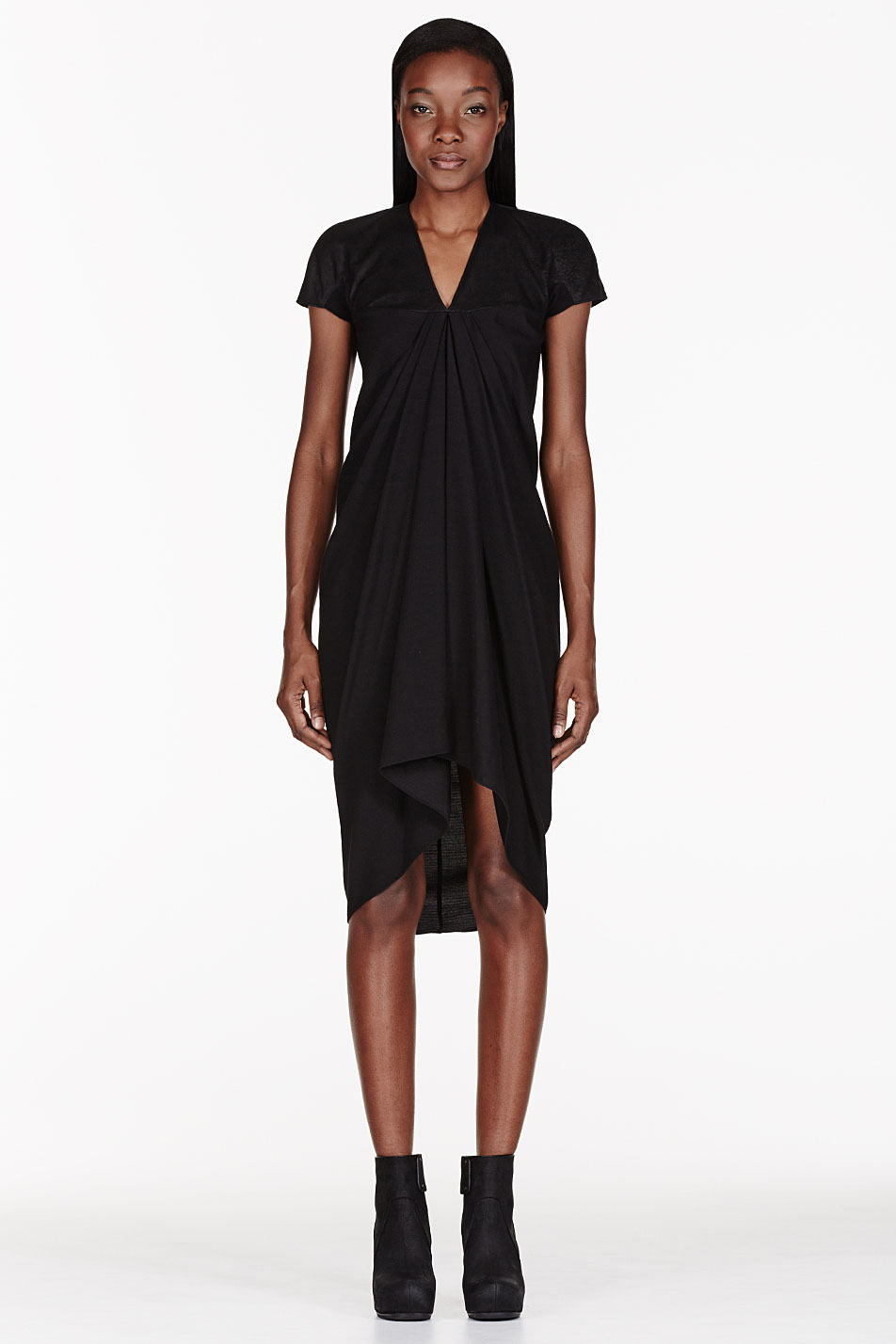 rick owens black textured athena dress