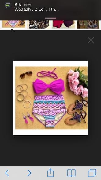 swimwear aztec high waisted bikini purple bikini bikini two-piece summer cute pink swimwear colorful patterns