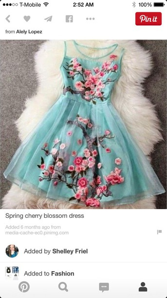 dress spring cherry blossom dress with sea foam and roses
