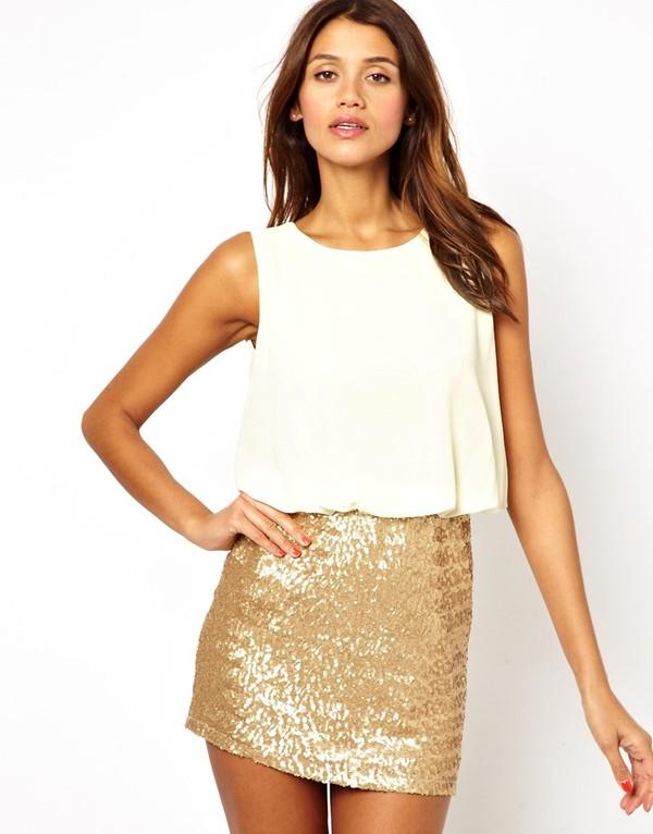 dress white gold short dress white dress