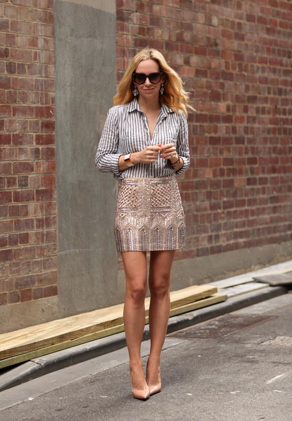 brooklyn blonde skirt shirt shoes jewels