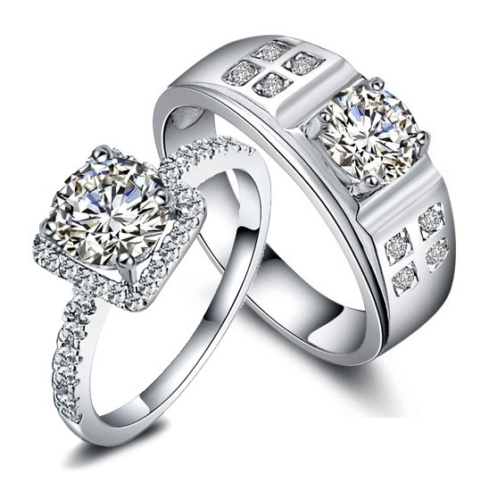 Engravable 2 Carats Diamond Designers Engagement Gold Rings Personalized Couples Gifts | His Her Necklaces and Bracelets | Engraved Wedding Rings | Couples Clothing