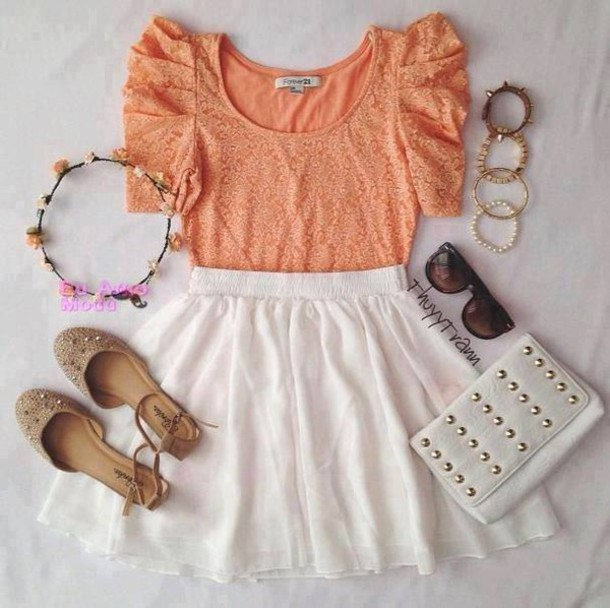 blouse gorgeous omfg beautigul girl flowers ootd romantic perfect coral peach pleated