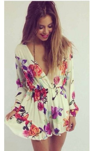 Limited Edition Floral Pom Pom Playsuit -  from The Fashion Bible  UK