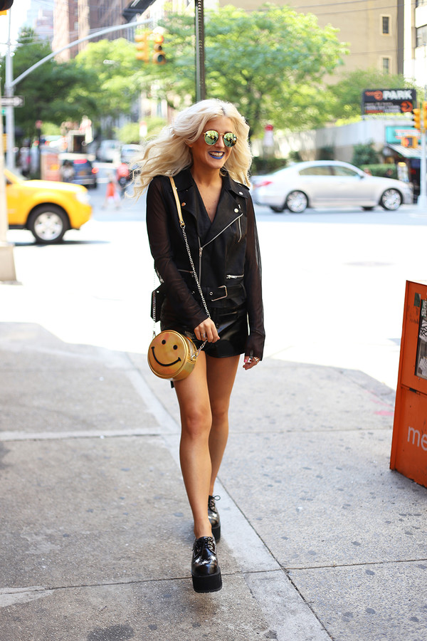 i hate blonde shoes jacket bag shorts sunglasses