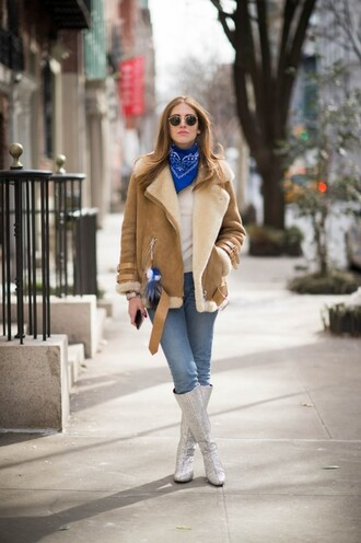 the blonde salad blogger jeans shearling jacket silver shoes brown shearling jacket bandana chiara ferragni white top blue jeans silver boots boots winter outfits winter coat