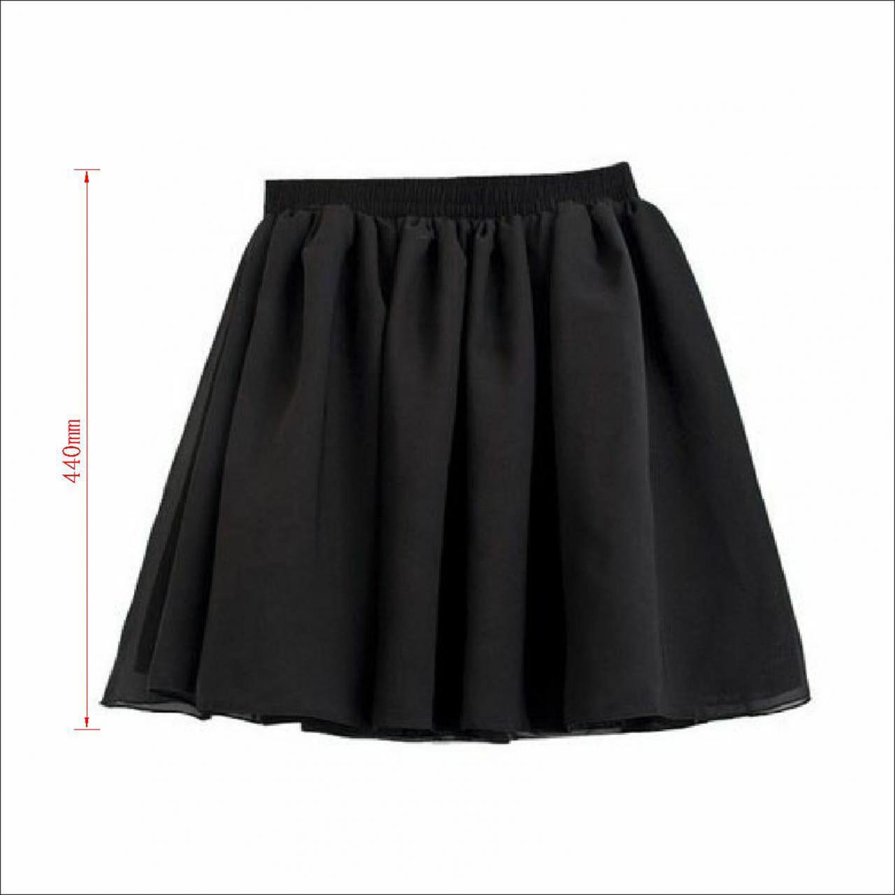 Vogue Lady Retro High Waist Pleated Double Layer Chiffon Short Mini Skirts Dress on Luulla