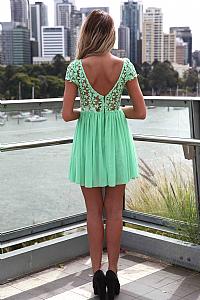 SPLENDED ANGEL DRESS , DRESSES, TOPS, BOTTOMS, JACKETS & JUMPERS, ACCESSORIES, 50% OFF , PRE ORDER, NEW ARRIVALS, PLAYSUIT, COLOUR, GIFT VOUCHER,,Green,Print,LACE,SHORT SLEEVE,MINI Australia, Queensland, Brisbane