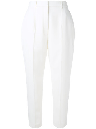 cropped women white wool pants