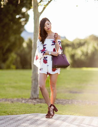 metallic paws blogger romper bag shoes off the shoulder floral romper long sleeves white romper purple burgundy lace up lace up heels