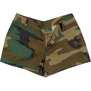 Woodland Camouflage - Womens Military Mini Shorts - Army Navy Store