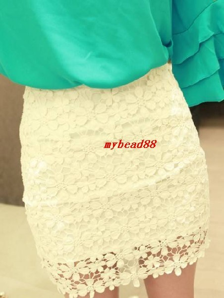 Crochet Embroidery Floral Lace Double Layer Lining Bodycon Mini Short Skirt-in Skirts from Apparel & Accessories on Aliexpress.com
