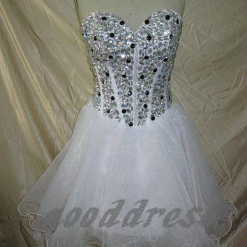 2013 sexy white sweetheart  crystal beaded zipper back A Line piping short homecoming party dress cocktail prom dress gown on Wanelo