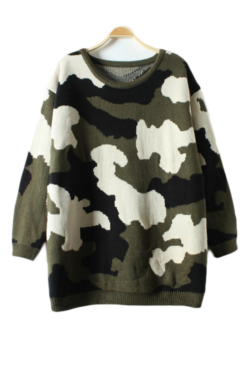 Vintage Camouflage Uniform Thickening Round Collar Pullover Loose Sweater,Cheap in Wendybox.com