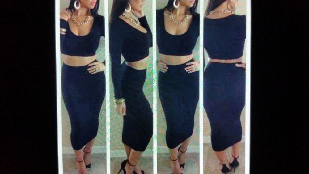 Celebrity Inspired Black Two Piece Stretch Bodycon   eBay