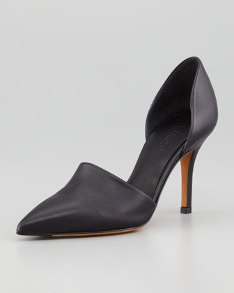 Vince Claire Two-Piece Leather Pump, Black - Neiman Marcus
