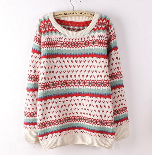 Beige Love Color Striped Long Sleeve Sweater on Luulla