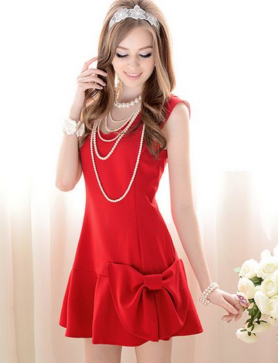 2014 Summer New Style Simple V Collar Bowknot Dress_Dress_Pink Doll_Cheap Korean Clothes Wholesale and Drop Ship from China, Online Wholesale Clothes
