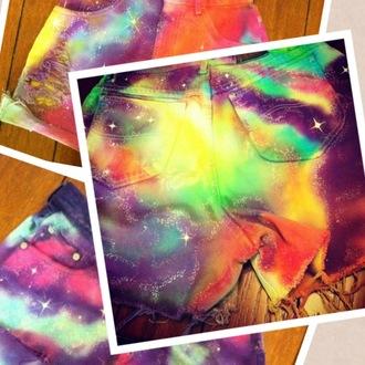 shorts galaxy shorts galalxy galaxy print colorful shorts colorful random black milk inspired bright vibrant summer