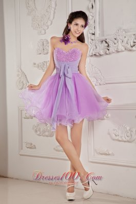 Cheap Cute Lavender A-line / Princess Sweetheart Prom / Homecoming Dress Mini-length Organza Beading - US$119.45
