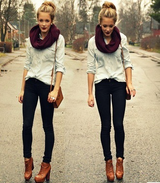 dark lipstick infinity scarf knitted scarf denim shirt brown leather bag skinny jeans black jeans platform lace up boots brown boots fall outfits fall accessories burgundy all denim outfit shirt shoes scarf vintige bag pants blue shirt
