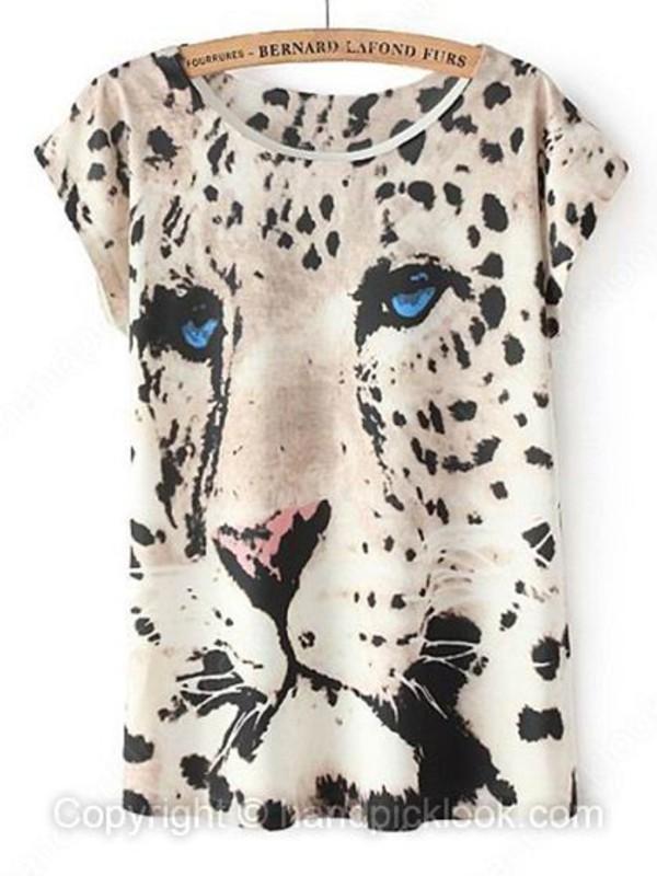 t-shirt leopard print leopard print tee tiger t-shirt printed t-shirt grunge handpicklook.com