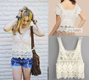 Vintage Sheer Sleeve Embroidery Floral Lace Crochet Blouse Vest Tee T Shirt Tops | eBay