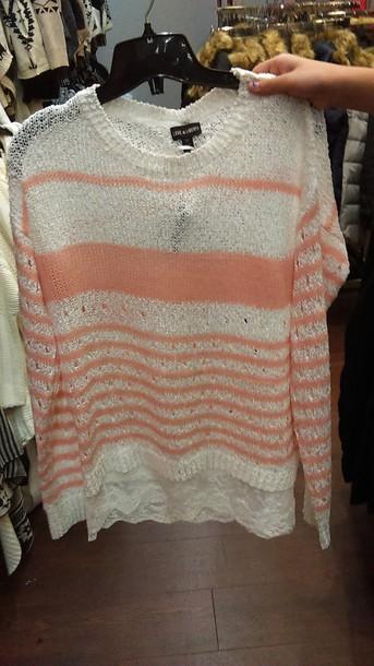 sweater pinkandwhite stripes lacetrim