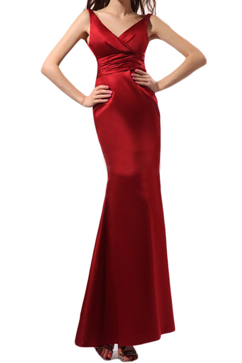 2013 New Red V Neck Slim Fishtail Evening Dress,Cheap in Wendybox.com