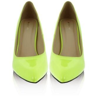 shoes neon yellow low heels high heels pumps