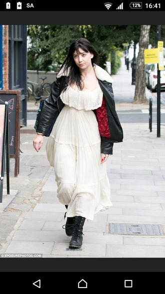 dress cream dress vintage daisy lowe