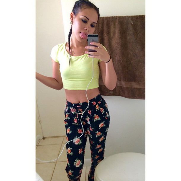 lime roses joggers