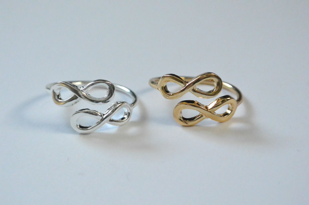 Cute Silver Or Gold Double Infinity Wrapping Ring Adjustable   eBay