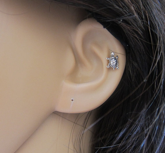 Tiny Turtle Cartilage Earring Turtle Tragus by GreatJewelry4All