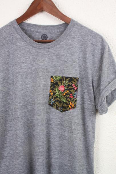 t-shirt t-shirt grey flowers floral pocket t-shirt grey t-shirt shirt top t-shirt blouse grey floral pocket